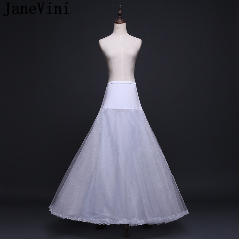 Купить с кэшбэком JaneVini Robe Vintage Rockabilly A Line Petticoat Women Wedding Prom Dress Underskirt Bridal Buddy Elastic Waist Lace Edge Skirt