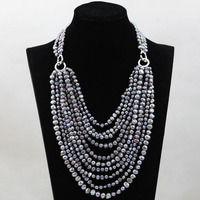 Marvelous Baroque Freshwater Pearl Beads Necklace Gray/Grey Bridal Necklace Wedding Jewelry Wholesale Free Shipping FP073