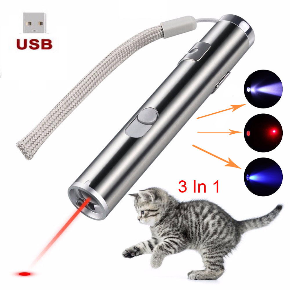 Mini lazer Red Laser Pointer USB Rechargeable 3 In 1 Pen Flashlight Charging UV Torch Hunting Laser Sighter Multifunction Lamp