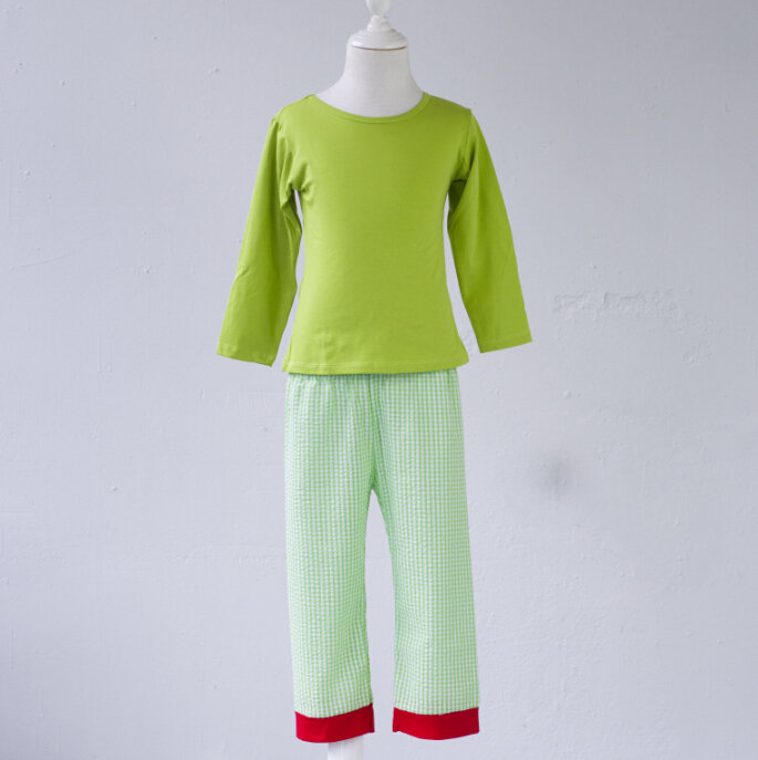 Solid color simple design lime top and red pants pajamas outfit 95% cotton soft wear chrismas matching color family pajamas