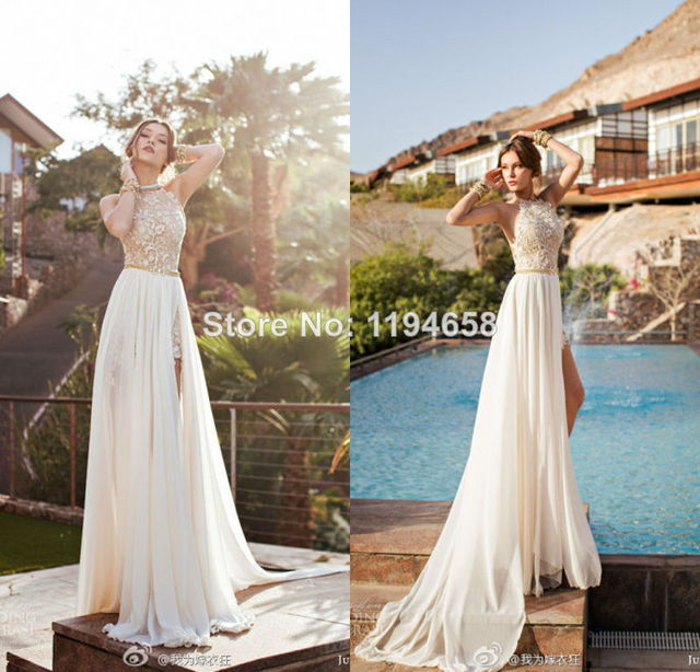 romantic high neck lace beaded chiffon high low white prom