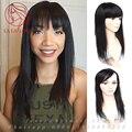 Бразильский реальные Человеческие волосы замена системы женщина парик с fringe Прямо Женщин парик парик шиньоны закрытие волос стиль