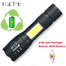 2018 A100 USB Rechargeable Built-in 14500/18650 LED Flashlight 8000Lum 4Modes LED COB+T6 L2 LED Torch Zoom Led Flashlights Lamp(China)
