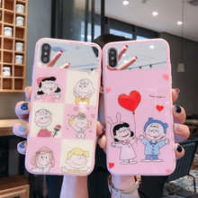 Cartoon Charlie Lucy mirror makeup case for iPhone 8 7 6 6s plus x xr xs max Peanut Pink love heart couple glossy cover 8plus 10