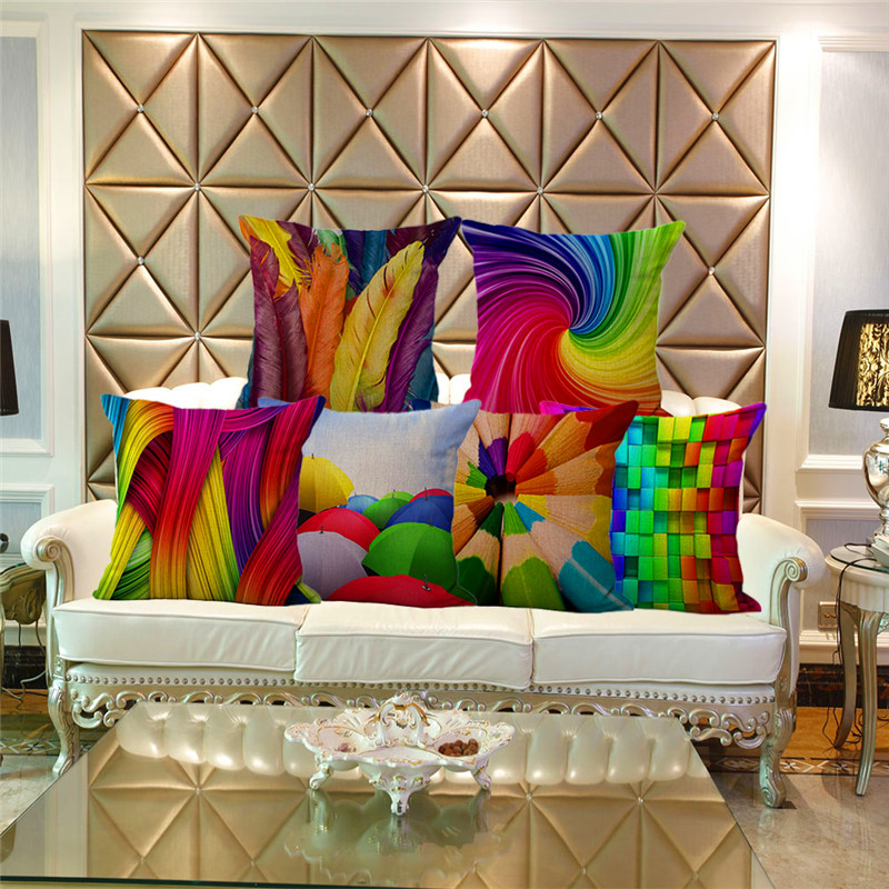 Home Decorat: Colorful 3D Creative Cotton Linen Throw Pillow Case Pencil