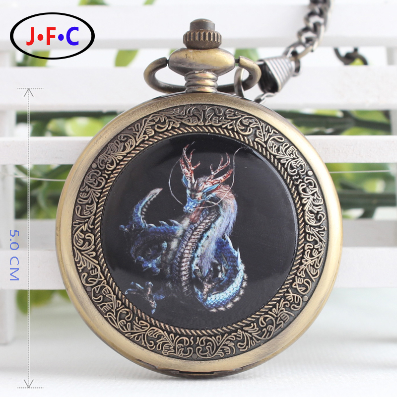 Men and women watch with semi automatic hollow flip chain mechanical pocket watch dragon quartz watch Rome enamel table B113 2016 aladdin and the magic lamp watch the young men and women fashion quartz pocket watch table birthday gift ds262