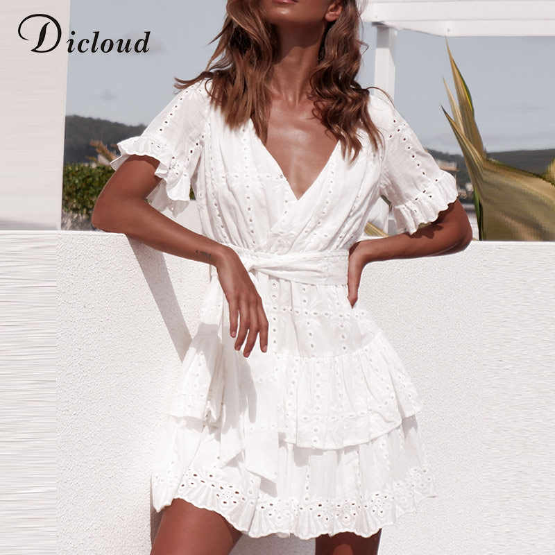 95038228323 ... DICLOUD White Embroidery Cotton Dresses Summer Women Short Sleeve  Casual Beach Sundress Sexy V Neck Hollow ...