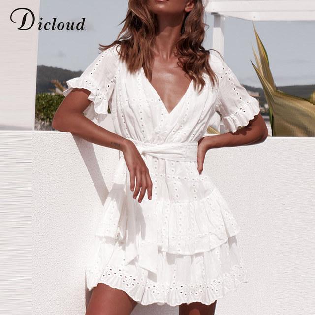 DICLOUD Bonito vestido blanco bordado de algodón vestidos de verano mujeres de manga corta Casual playa vestido Sexy V cuello ahuecado Mini vestido