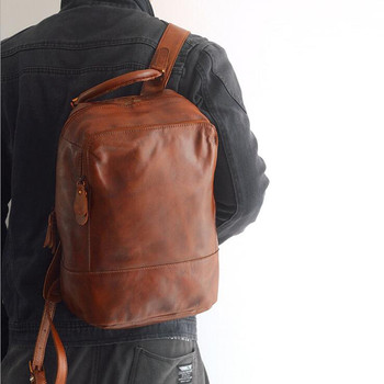 Unisex 100% Genuine Vegetable Tanned Leather Backpacks Genuine Leather Vintage  Backpack Brown Bags Male Female Fashion Backpack