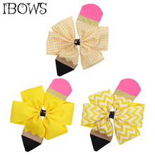 4 BACK TO SCHOOL Hair Bows for Girls Pencil Hairgrips Students Ribbon Clips Band Fashion Accessories