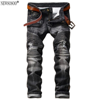 Newsosoo Fashion Brand Ripped Straight Denim Jeans Men Pants Cotton Robin Slim Skinny Men S Biker