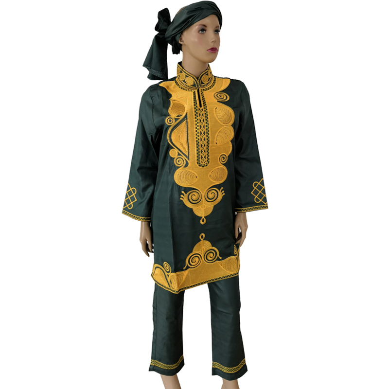 MD women african clothing 3 piece set bazin riche african top with pants suit women gele headtie 2019 new dashiki africa clothes