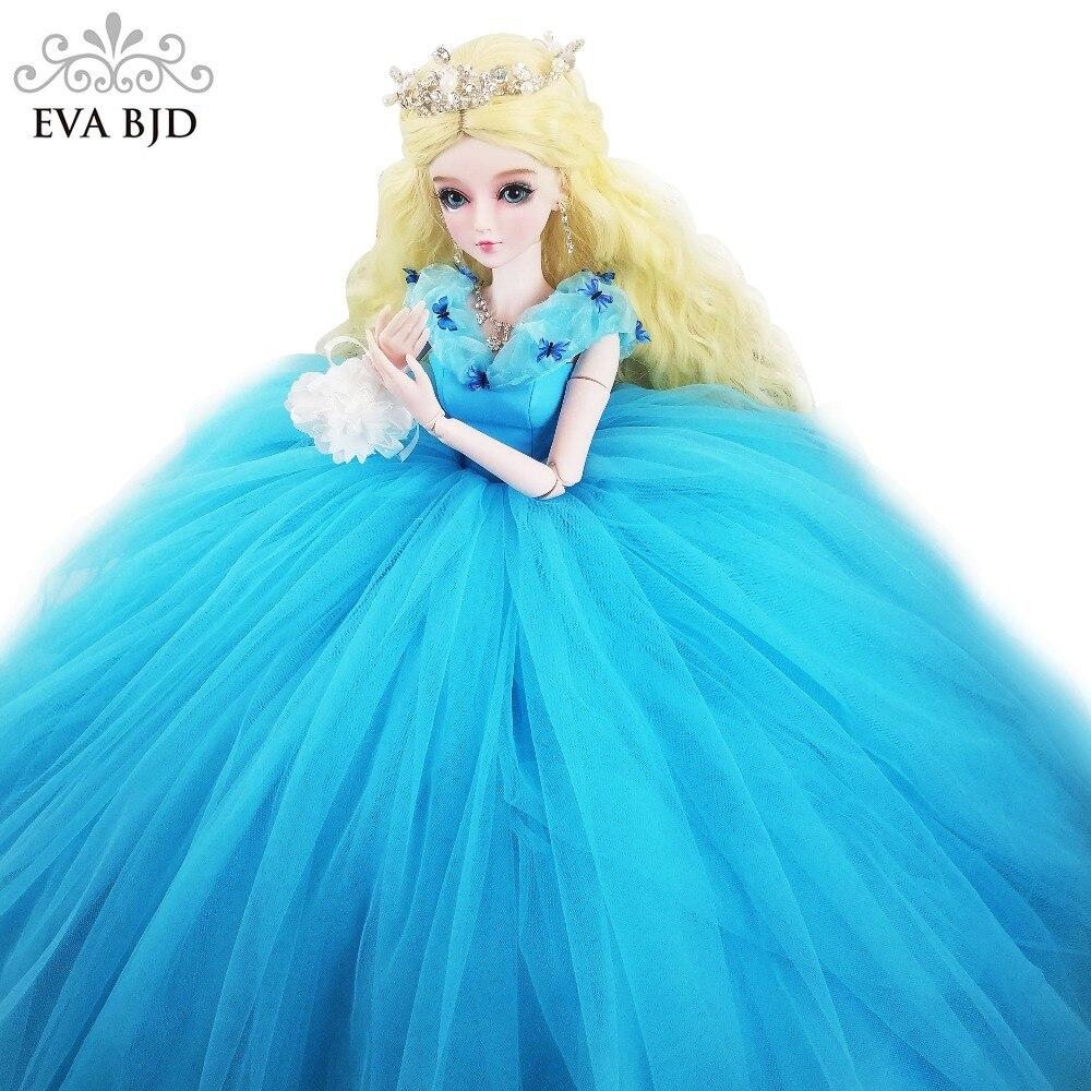 22 BJD Full Set + Handmade Makeup Glass EYES + Cinderellas Ball Dress 1/3 BJD Doll 56cm jointed Doll Fantasy Girl Toy Gift