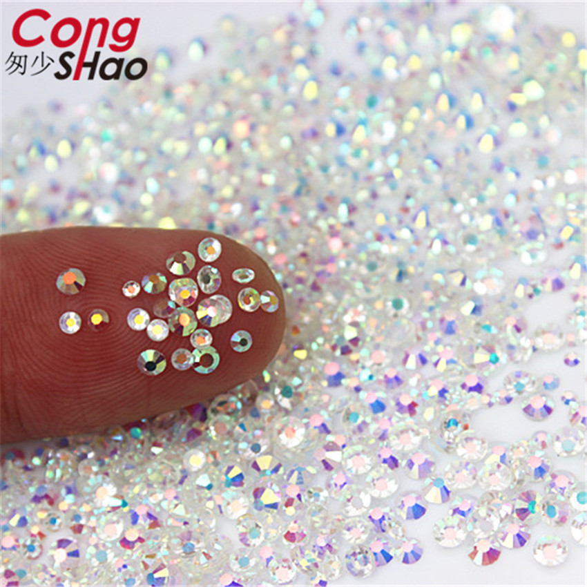 Cong Shao Mix Sizes Transparent Stone SS3 SS10 Glass Gem Clear AB 3D Nail  Rhinestones bbe957b694c1