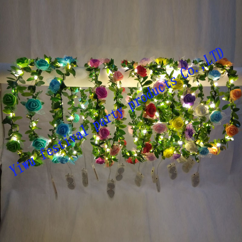 Light-up Girls Women Boho Artificial Butterfly Flowers Headband Garland LED  Floral Wreath Wedding Party Suppliies 66790131c7e