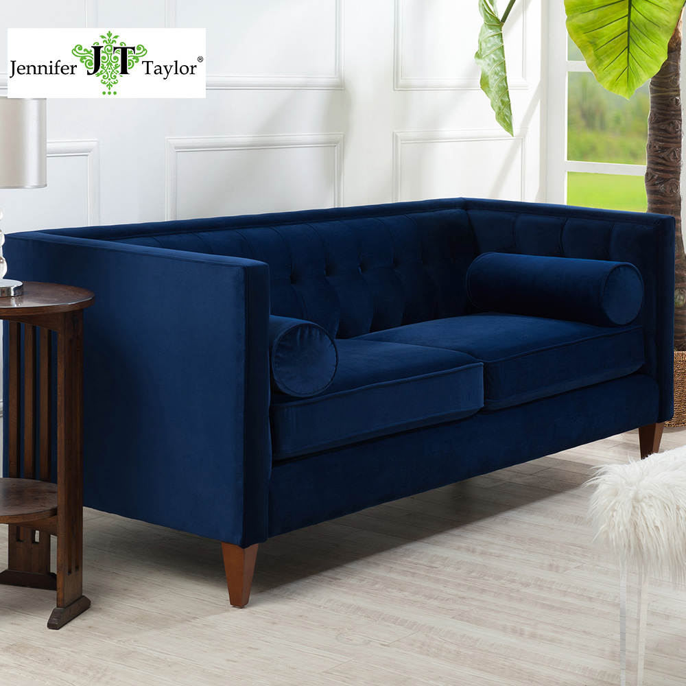 American living room furniture 84w x 33d x 31 1 2h navy blue velvet fabric tufted sofa from jennifer taylor