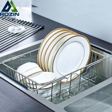 Chrome Stainless Steel Adjustable Cutlery Dishes Rack Draining Tableware Storage Holder Shelf Kitchen and Drainage Tray