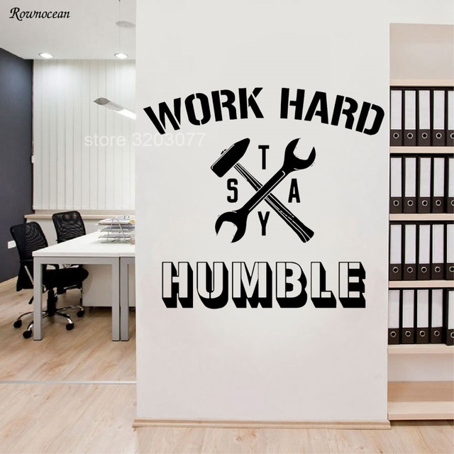 inspirational words quotes vinyl wall sticker work hard stay humble