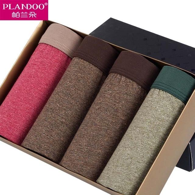 2017 PLANDOO Mens Seamless Shorts Mens Pouch Tights High Grade Retro 4 Pieces Lots Box Gay Panties for Man 100% Cotton