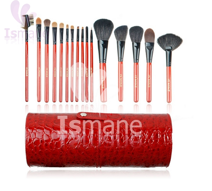 ISMINE 13 Pcs Professional Makeup Brush Set Black Red Green Cosmetic Brush Kit Makeup Tool Make up Brushes + Cup Holder Case 147 pcs portable professional watch repair tool kit set solid hammer spring bar remover watchmaker tools watch adjustment