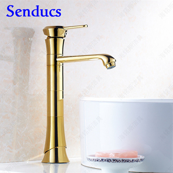Free shipping top body golden bathroom basin sink faucet with single hole basin sink faucet of hot cold gold bathroom faucet