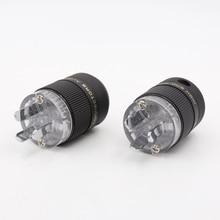 2pcs Transparent Rhodium AU Mains Power Plug Male Copper Connector Cable Cord 3 Pin HiFi