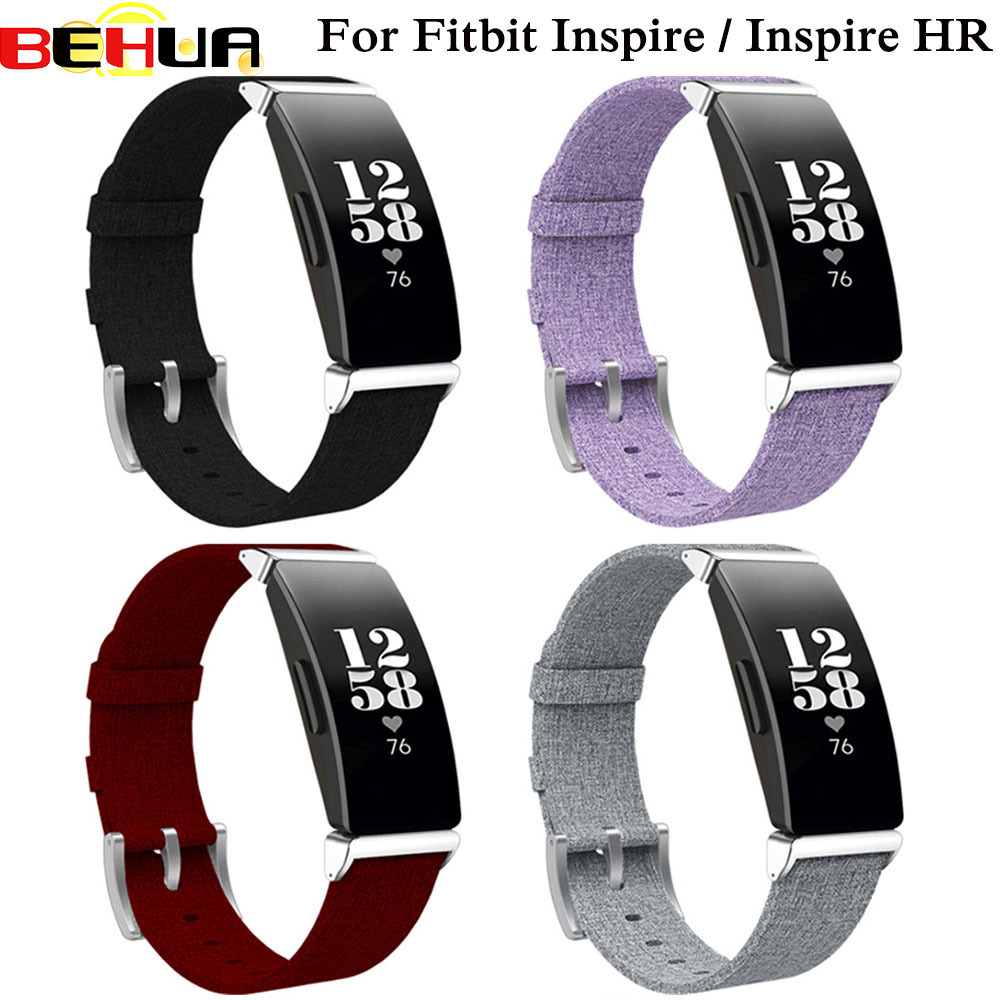 Watch Bands For Fitbit Inspire/Inspire HR Heart Fitness Tracker Classic Canvas Straps With Metal Connector Replacement Wristband