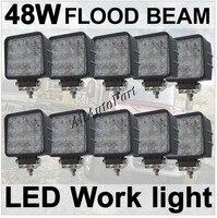 10 Pcs Flood 48W 4 Square LED Work Light Cool White 6000k 2760Lumens For ATV Jeep