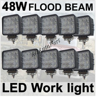 10 Pcs Flood 48W 4 Square LED Work Light Cool White 6000k 2760Lumens For ATV Jeep