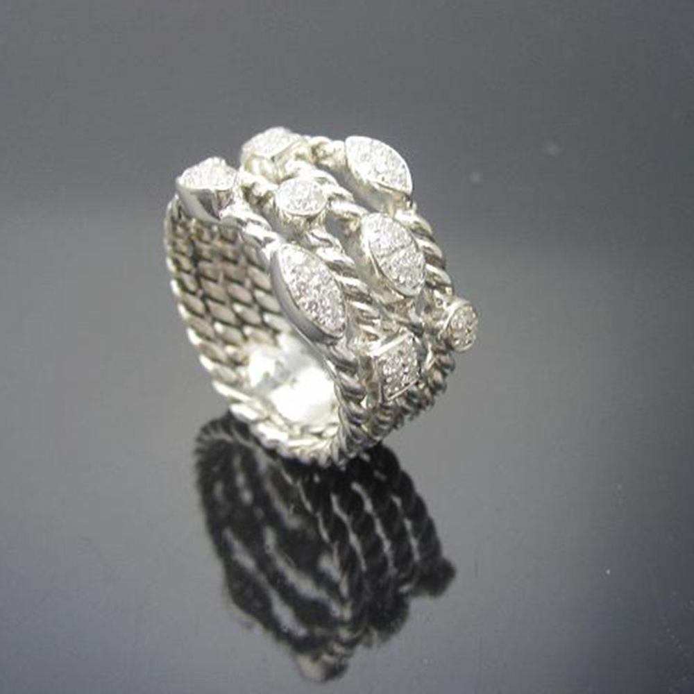 Solid Sterling Silver Jewelry Pave Diamonds Four Row Confetti Ice Ring Design Brand Jewelry Silver Wormen RingThanksgiving Gifts - 2