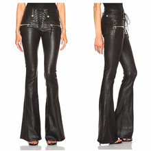 High Quality Women Fashion Punk Lace Front Flare Leather Pants Black