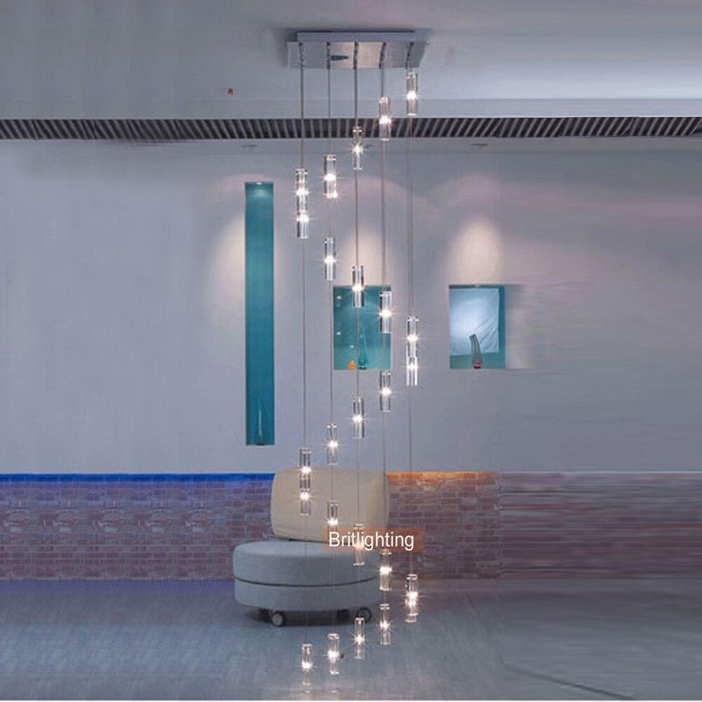 Moderna Appeso Scala Lampadario di Cristallo A Spirale di Illuminazione Lampadario Moderno LED Lampadari di Luce Scala Lampada A Sospensione LED