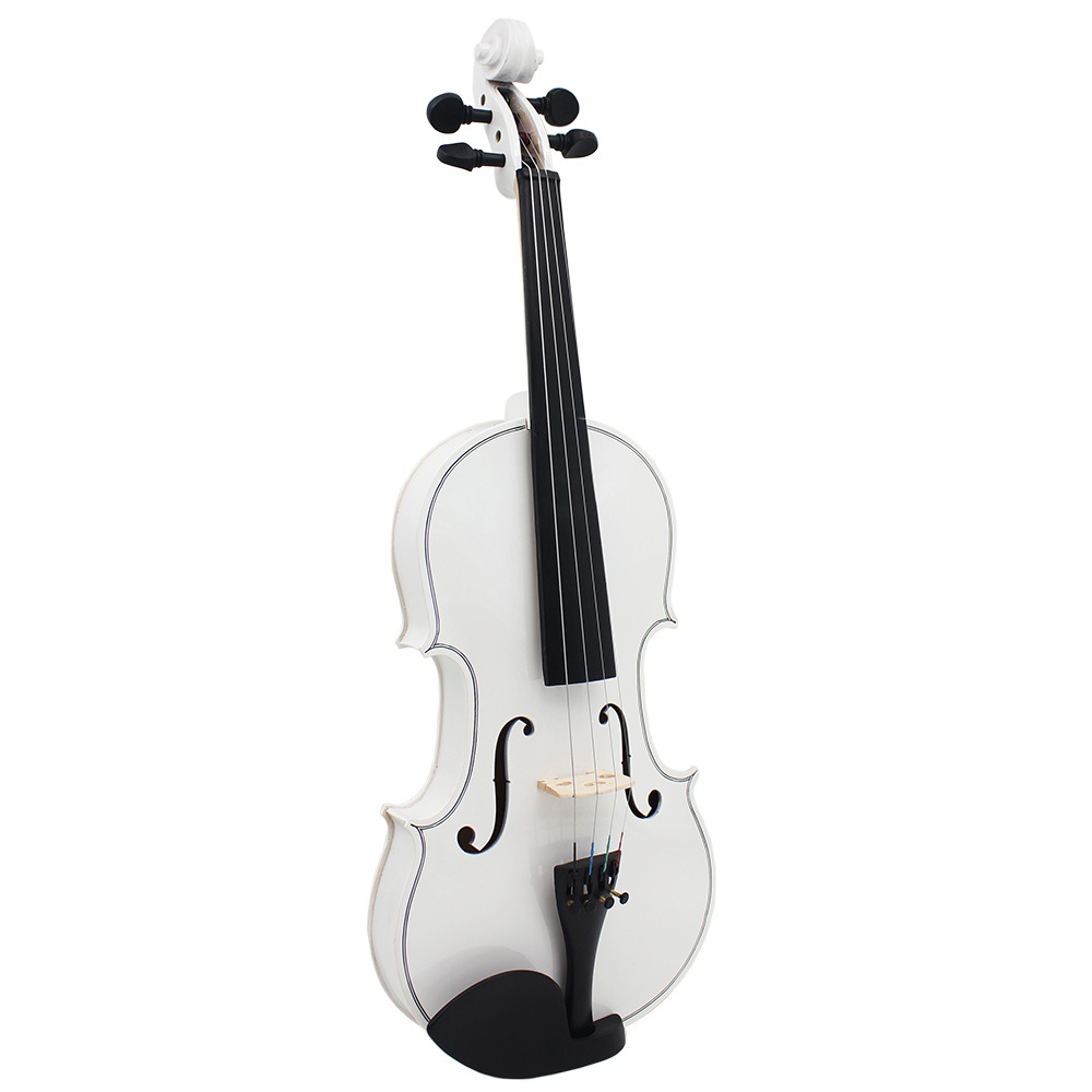White Solid Wood 4/4 Violin With Case & Bow Maple Spruce Italy Imported Paint Color handmade new solid maple wood brown acoustic violin violino 4 4 electric violin case bow included