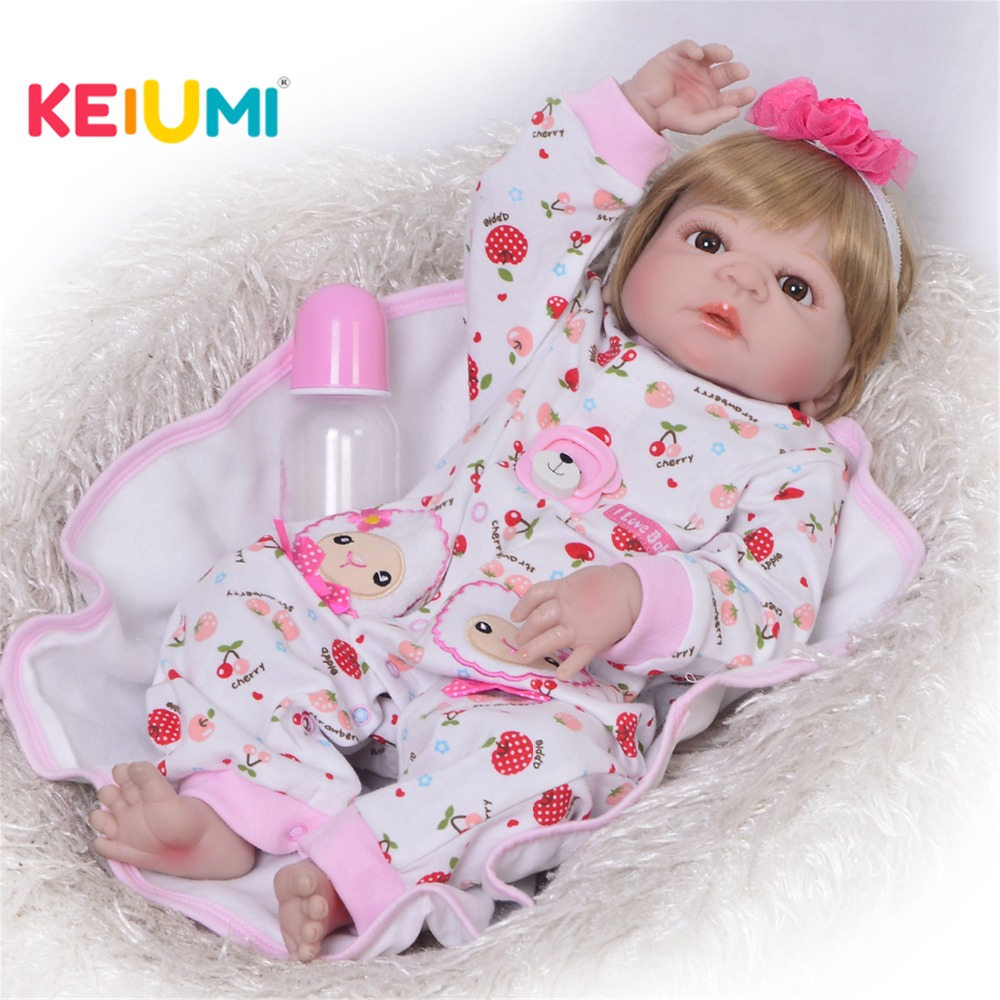 Realistic 23'' 57cm Reborn Baby Doll Full Body Silicone Lifelike Fashion Baby Girl Doll For Children Birthday Gift Kid Game Toy