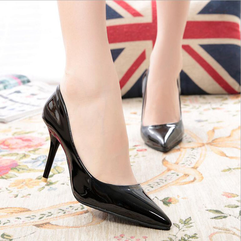 Pointed Women Shoes Patent Leather Slip On Classics Office Thin Heels 10 5 CM Wedding High Heel Shoes in Women 39 s Pumps from Shoes