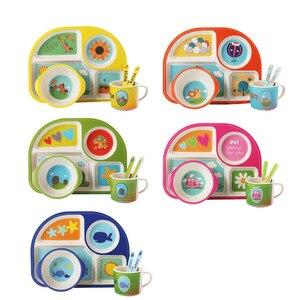 5 шт./компл. детская посуда из бамбукового волокна Набор для кормления ребенка тарелки миска с чашкой вилка ложка мультфильм животных детска...