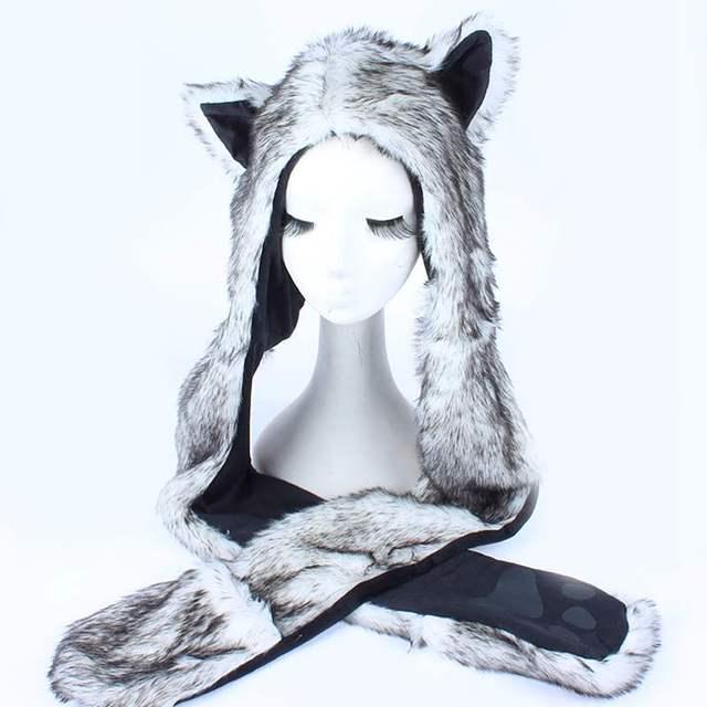 167e5406296 Women Men Winter Faux Fur Hood Animal Hat Ear Flap Hand Pockets 3 in1 Hood  Hats Wolf Plush Warm Animal Cap with Scarf Gloves