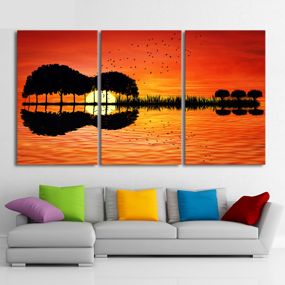 3 Piece Canvas Wall Art Hd Printed Guitar Tree Lake Sunset
