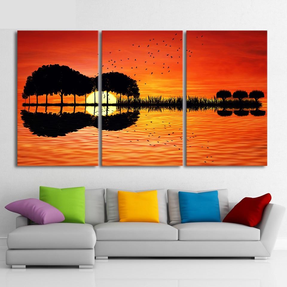 3 piece canvas wall art HD Printed guitar tree lake sunset