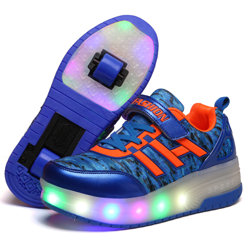 New Child Girls Boys Roller Skate Shoes LED Light Black Purple Children Sneakers Shoes With Wheel For Kids children roller sneaker with one wheel led lighted flashing roller skates kids boy girl shoes zapatillas con ruedas