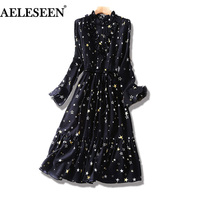 100 Silk Long Sleeve Dress Fashion 2018 Boho Patchwork Print Black White Ruffles Dress Elegant Summer