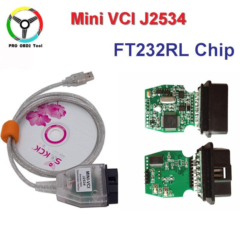 Новые V12.00.127 мини VCI с FTDI232RL чип Интерфейс для TOYOTA ТИС Techstream J2534 OBD2 OBDII инструмент диагностики Бесплатная доставка