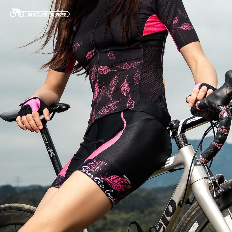 Santic Women Cycling Padded Shorts Pro Fit Coolmax Shockproof 4D Pad Road MTB Bike Bicycle Shorts