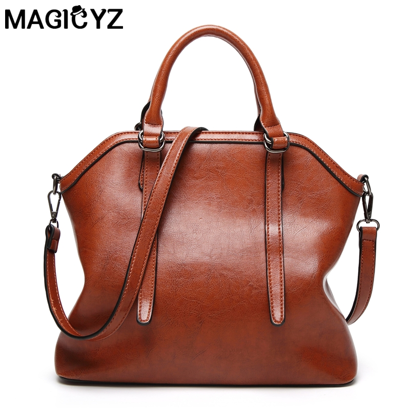 MAGICYZ Luxury Brand Women Messenger bag Shell oil Leather Bags Women's Handbag bolsas feminina Ladies Hand Purse 2017 Bolsa women fashion rivet punk style handbag ladies grace elegant luxury messenger bag bolsas de marcas famosas feminina cymakaxa1004d