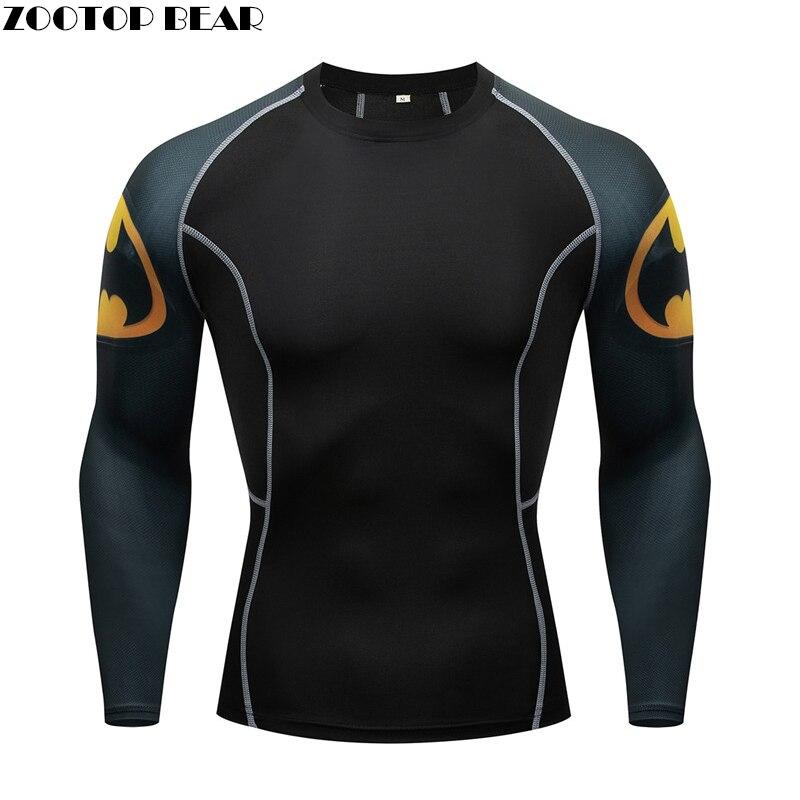 2019 Mens Compression TShirt Running Shirt Men Quick Dry GYM Fitness Top Sport Shirt Male MMA Rashgard Bodybuilding Bat T-Shirts