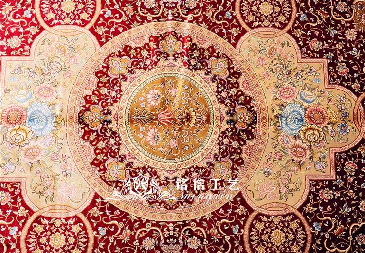 5'x7. 5' tapis de soie persan rouge noué à la main tapis Oriental fait main - 3