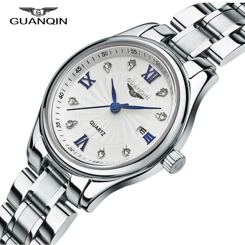Watch Women Luxury GUANQIN Brand Fashion Quartz-Watch Waterproof Stainless Steel Watchbands Relogio Feminino 2016 Montre Femme цена