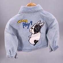 3-9T Children Boys Girls Denim Jackets Spring Autumn Kids Outerwear & Coats Jeans Baby Clothing Toddler Cartoon Dog Clothes недорого