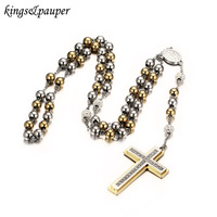 INRI Jesus Christ Cross Layered Necklaces Pendant Stainless Steel Beaded Long Sweater Chain Rosary Necklace For