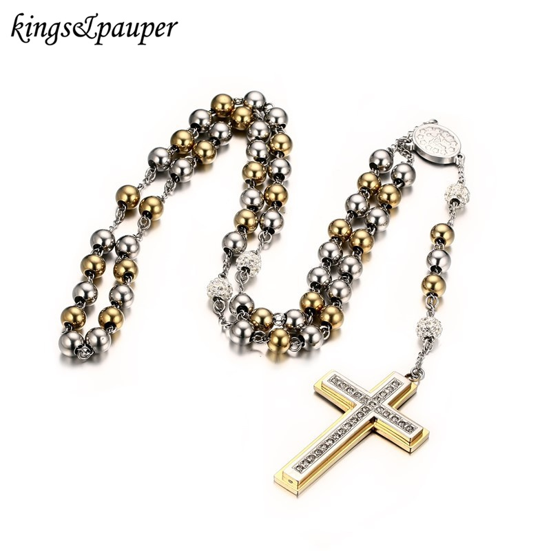 INRI Jesus Christ <font><b>Cross</b></font> Layered Necklaces Pendant Stainless Steel Beaded Long Sweater Chain Rosary Necklace For Women Jewelry
